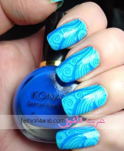 طلاء اظافر جديد باللون الأزرق 2012