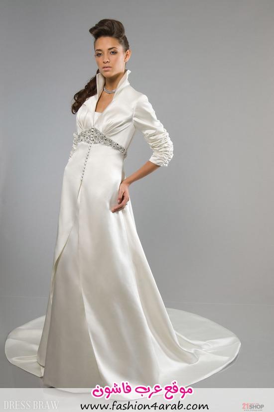 Awesome-A-line-High-neck-3-4-Length-Sleeves--Floor-Length-Chapel-Beaded-Wedding-Dresses-model-72701835