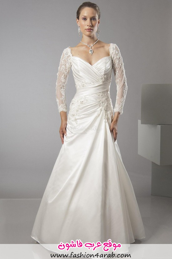 Long-lace-sleeves-pleated-satin-brush-train-wedding-gowns-a-line-3-1-42