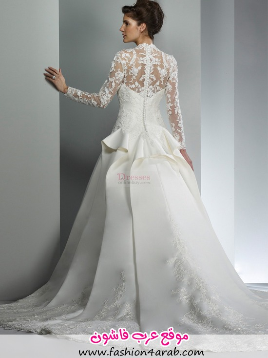 a-line_v-neck_lace_long_sleeves_court_trains_satin_wedding_dresses-1