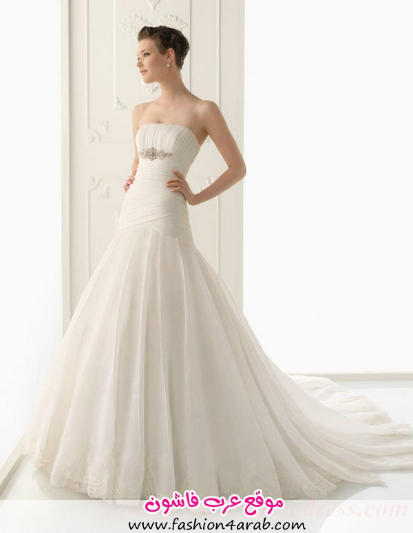Cathedral Train Strapless Beaded Wedding Dresses