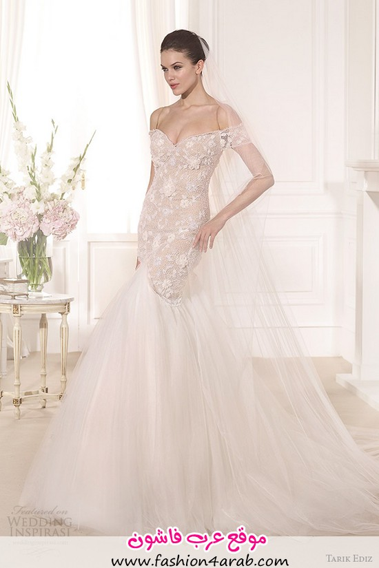 tarik-ediz-2014-bridal-collection-off-the-shoulder-sweetheart-mermaid-blush-wedding-dress-lataya