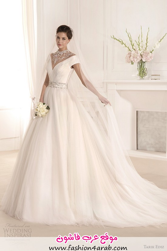 tarik-ediz-2014-bridal-collection-off-the-shoulder-v-neck-short-sleeve-a-line-wedding-dress-1-mimoza