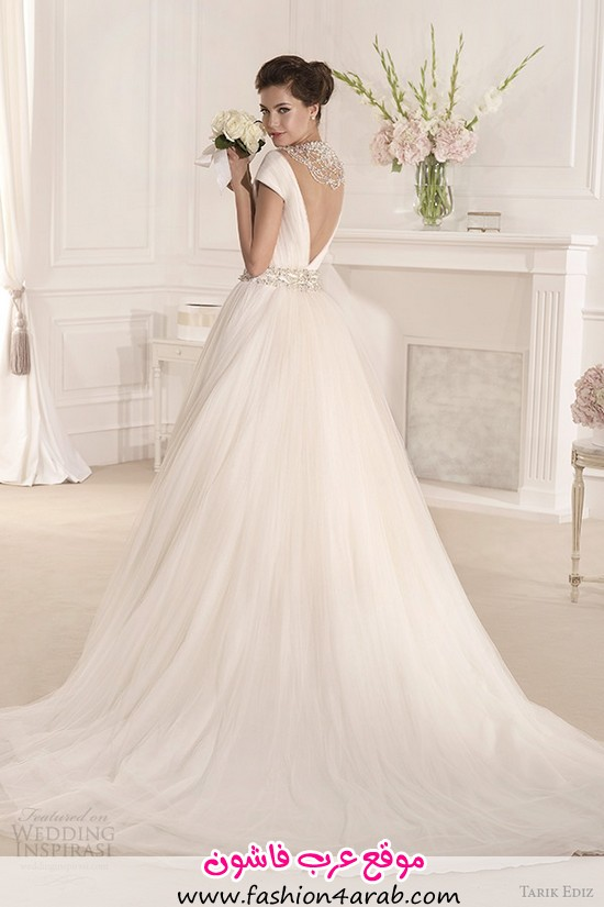tarik-ediz-2014-bridal-collection-off-the-shoulder-v-neck-short-sleeve-a-line-wedding-dress-back-mimoza