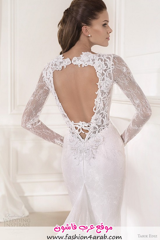 tarik-ediz-2014-bridal-collection-plunging-neckline-long-sleeves-sheath-wedding-dress-mine-back-zoom