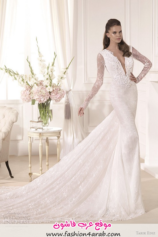 tarik-ediz-2014-bridal-collection-plunging-neckline-long-sleeves-sheath-wedding-dress-mine