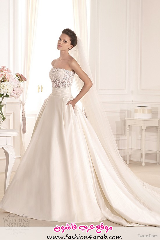 tarik-ediz-2014-bridal-collection-strapless-straight-across-a-line-pockets-fulya-g1130