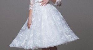 blumarine-bridal-2015-beautiful-short-wedding-dress-off-the-shoulder-lace-sleeves