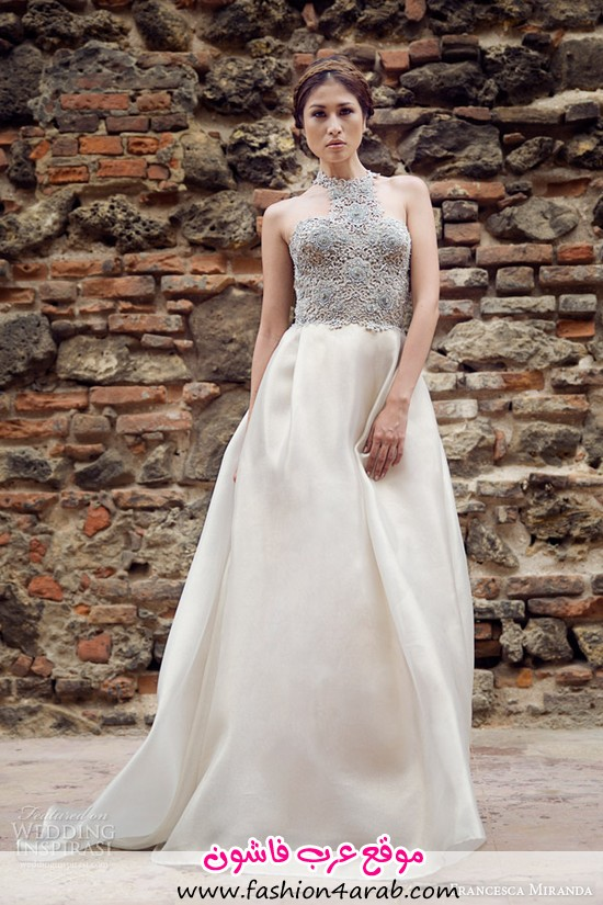 francesca-miranda-bridal-fall-2014-camille-sleeveless-high-neck-wedding-dress