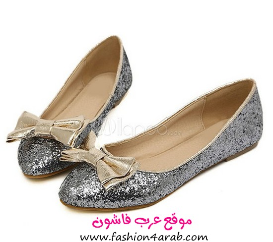 milanoo Charming Silver PU Leather Glitter Pointed Toe Bow Ballet Flats For Women