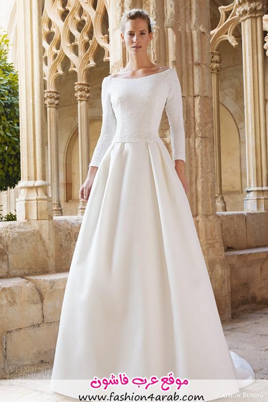 raimon-bundo-bridal-2015-maxim-long-sleeve-beateau-neckline-wedding-dress-pleated-skirt
