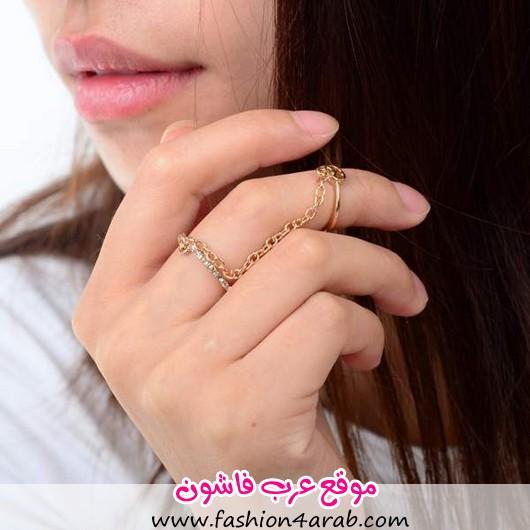 New-Hot-Gold-Thin-Chain-Midi-Ring-Peace-Love-Charm-Rhinestone-Double-Ring