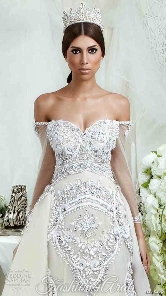 dar-sara-bridal-2016-wedding-dresses-extravagant-a-line-gown-off-the-shoulder-strap-sweetheart-neckline-embellishment-embroidery-closeup