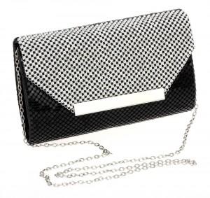 Women-Envelope-Bag-Matt-Black-Finishing-Mesh-Crystal-Flap-Cover-Ladies-Evening-Party-Clutches-Long-Chain